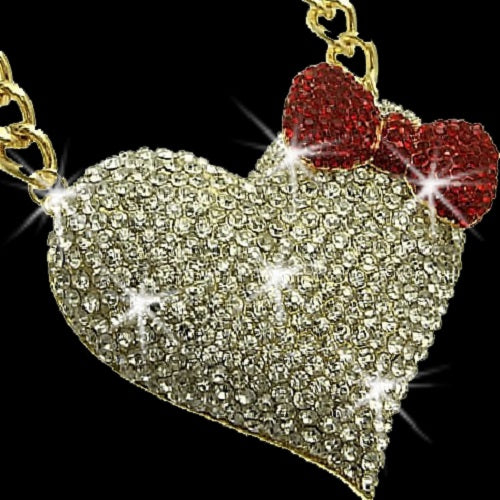 "3"" HUGE Pave Crystal Heart Bow Necklace Gold"