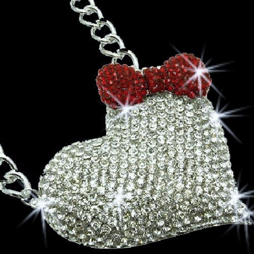 "3"" HUGE Pave Crystal Heart Bow Necklace Silver"