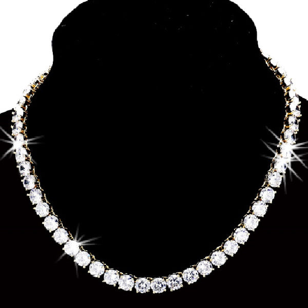 71ct CZ Diamond Tennis Necklace Gold