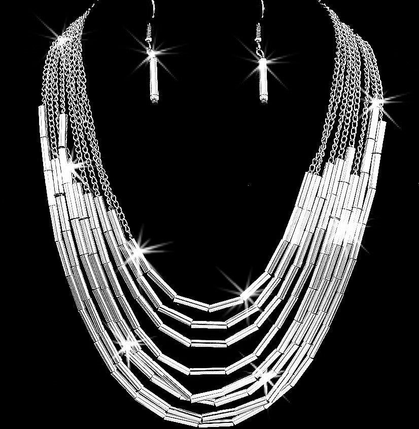 Diamond Cut Multi Tube Chain Statement Necklace Earrings Set