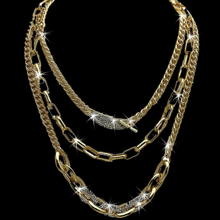 Multi Chain Pave Crystal Link Necklace