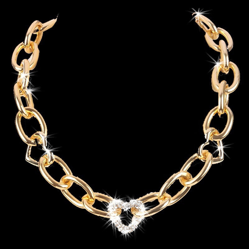 Pave Set Crystal Heart Cut Chain Link Necklace