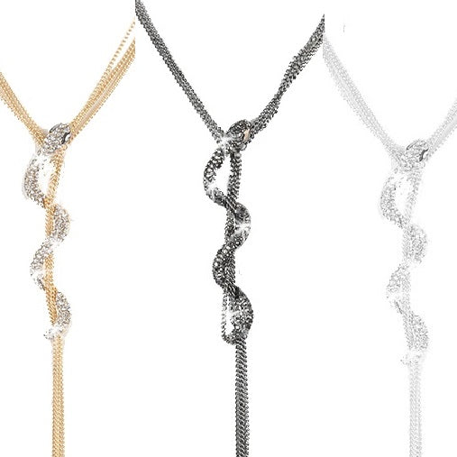 Silver Pave Crystal Snake Multi Chain Necklace