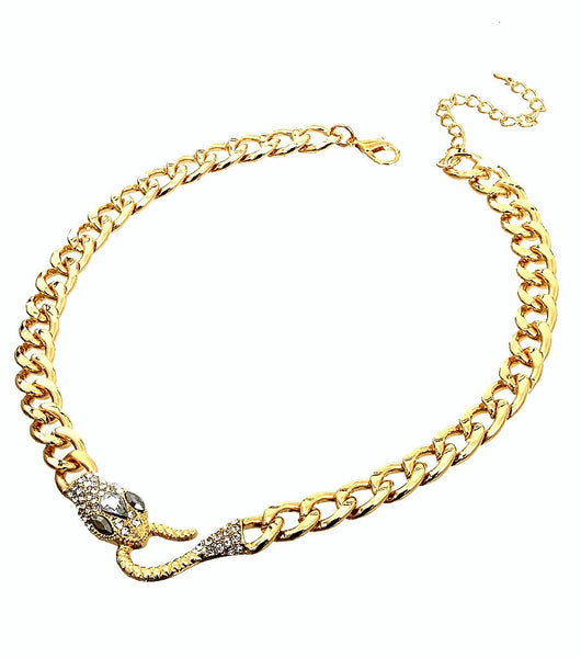 Gold Pave Crystal Snake Head Necklace