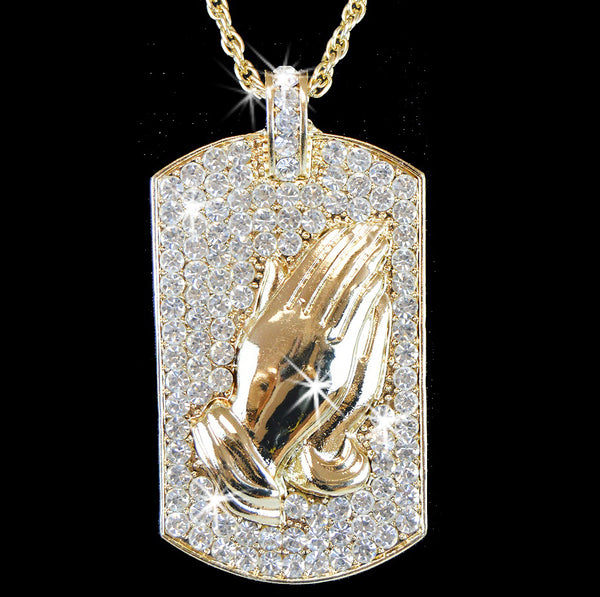 Praying Hands Pave Crystal Dog Tag Pendant Chain