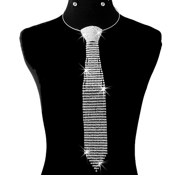 Silver Pave Crystal Necktie Necklace Earring Set