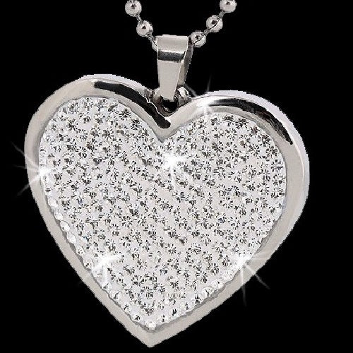 Micro Pave Crystal HEART Stainless Steel Necklace