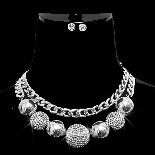 Silver Disco Ball Pave Crystal Statement Necklace Set