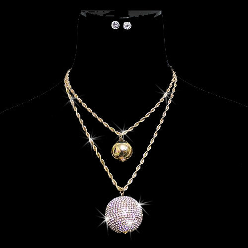 Gold Disco Ball Pave Crystal Statement Necklace Set