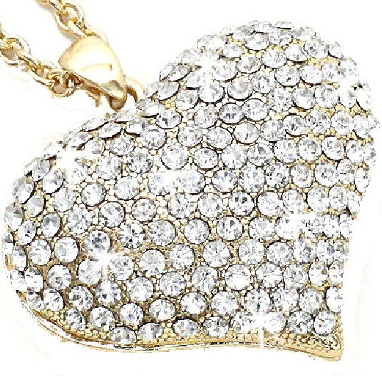 Gold Puffed Pave Crystal Heart Pendant Necklace