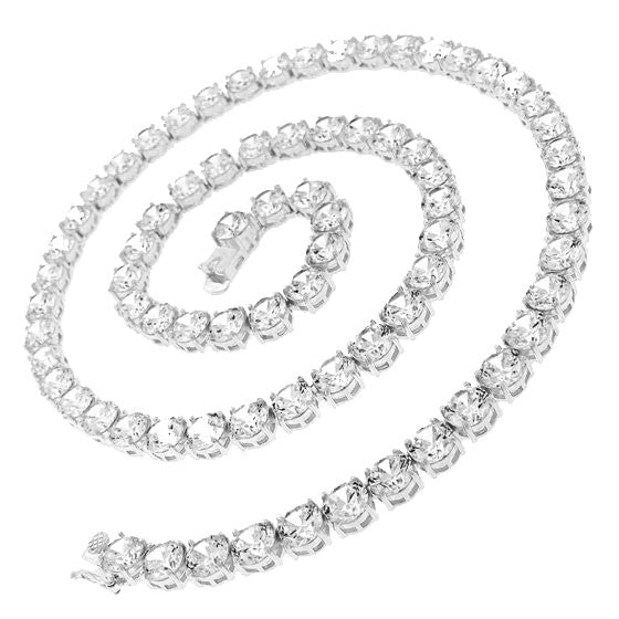 71.25ct CZ Diamond Tennis Necklace Silver