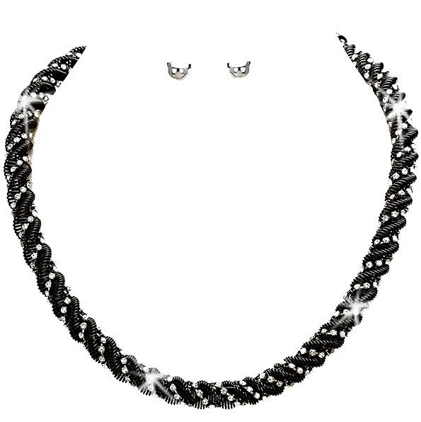 Black Pave Crystal Twisted Rope Chain Necklace Earrings