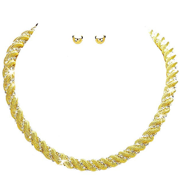 Gold Pave Crystal Twisted Rope Chain Necklace Earrings