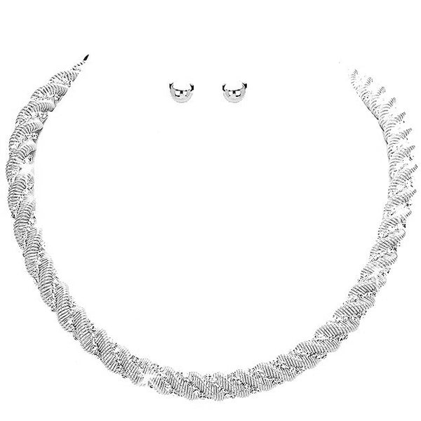 Silver Pave Crystal Twisted Rope Chain Necklace Earrings
