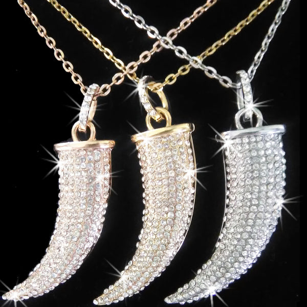 Pave Crystal Italian Horn Necklace Gold