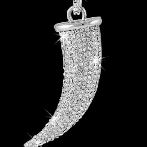 Pave Crystal Italian Horn Necklace  Silver