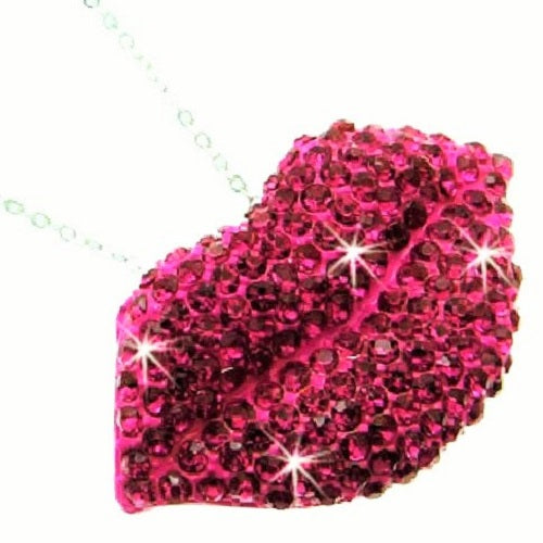 Fuchsia Pink Lips Crystal Link Pendant Necklace