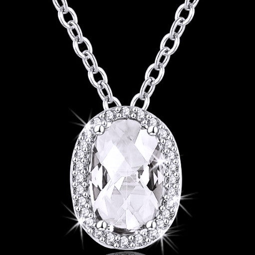 Micro Pave Set Oval Cut Cz Halo Pendant Necklace