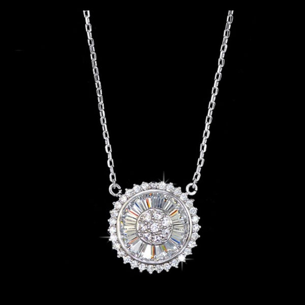 Emerald Cut & Micro Pave CZ Pendant Necklace