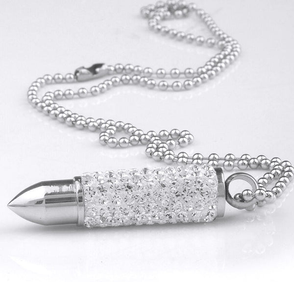 Pave Crystal Bling BULLET Pendant Necklace