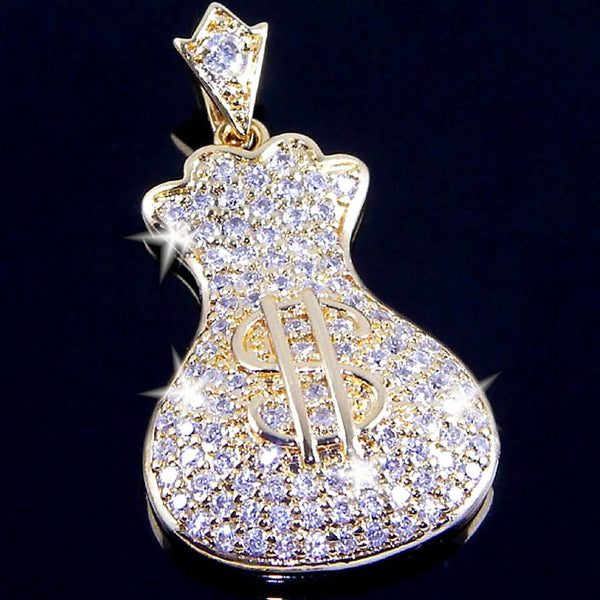 Money Bags Micro Pave CZ Pendant Necklace
