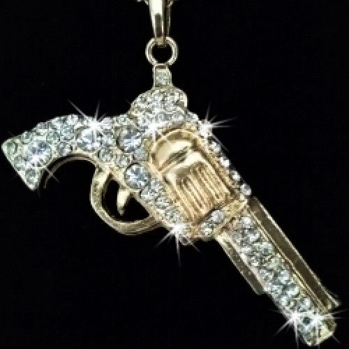 Gold Pave Crystal Gun Pendant Necklace
