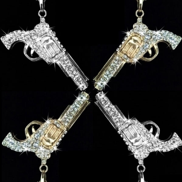 Silver Pave Crystal Gun Pendant Necklace