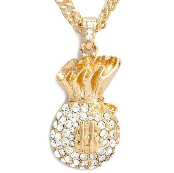Gold or Silver HUGE Money Bags Crystal Pendant Necklace
