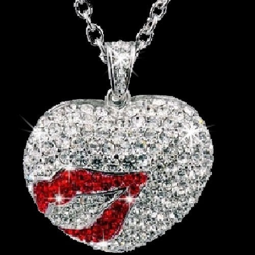 Silver Pave Ruby Crystal Heart & Lips Pendant Necklace