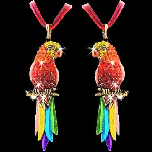 Rainbow Parrot Crystal Pendant Necklace