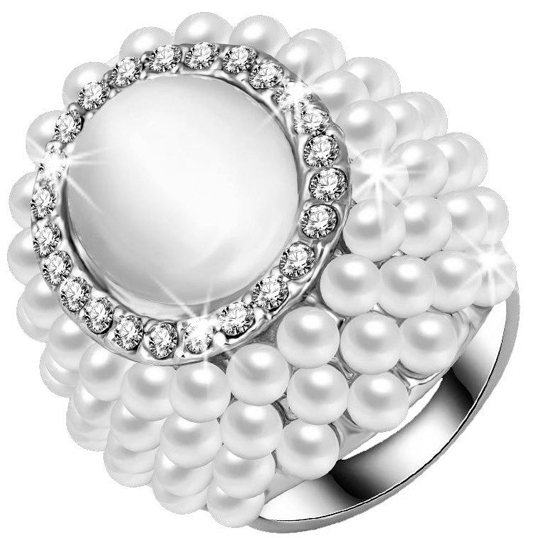 Pave Crystal & Pearl Halo Statement Ring Silver