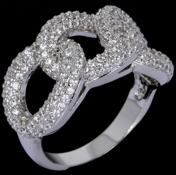 Chain Link Micro Pave Set Cz Diamond Band Ring