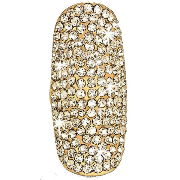 "2.2"" GOLD Bling Long Pave Crystal Ring"