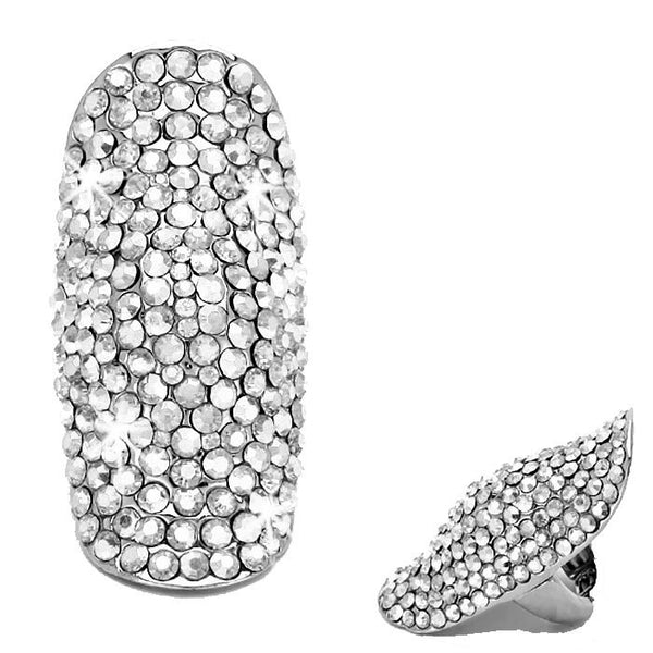 "2.2"" SILVER Bling Long Pave Crystal Ring"