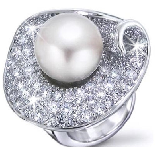Pearl & Micro Pave CZ Floral Ring