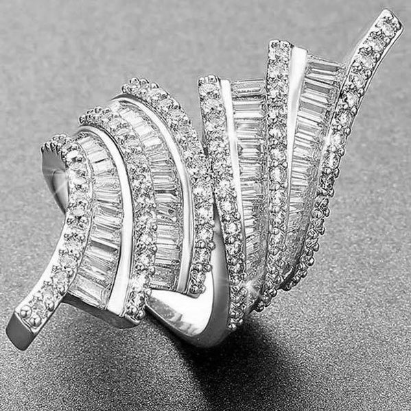 Fancy Pave & Baguette CZ Cocktail Ring Silver