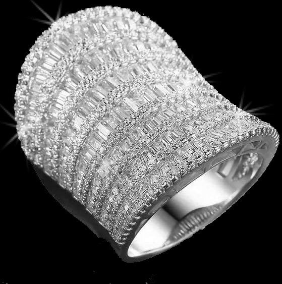 Micro PAVE Emerald Cut Baguettes Cz Statement Ring