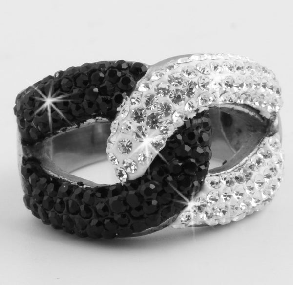 Black & White Pave Crystal Swirl Ring