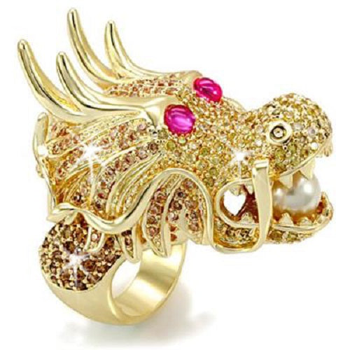 ENORMOUS Canary Pearl Chinese Dragon Micro Pave CZ Ring