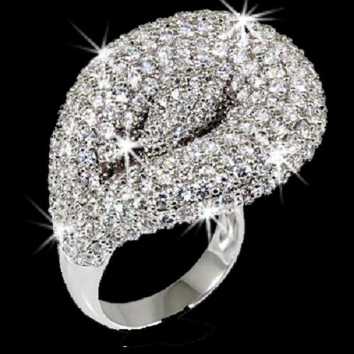 Pave Crystal Calla Lily Floral Ring