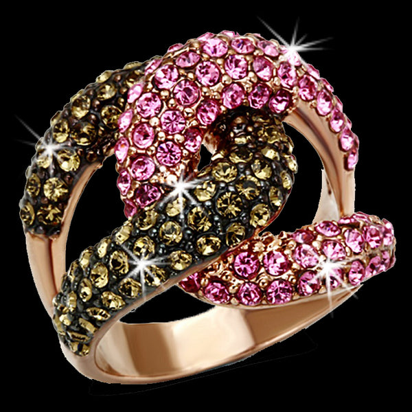 Rose Gold Pave Crystal Swirl Ring