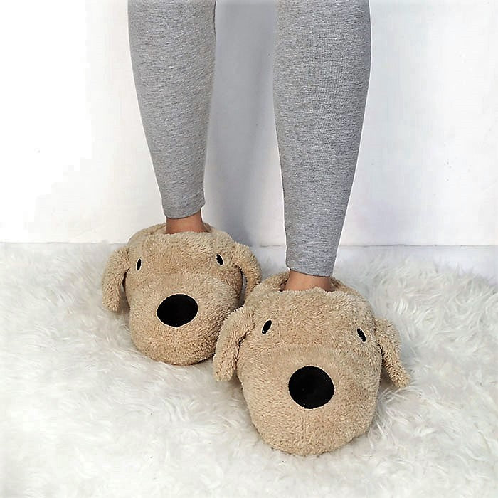 Comfy Non Slip Brown DOG Slippers