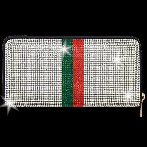 BLING Silver Red Green Stripe Crystal Wallet Clutch