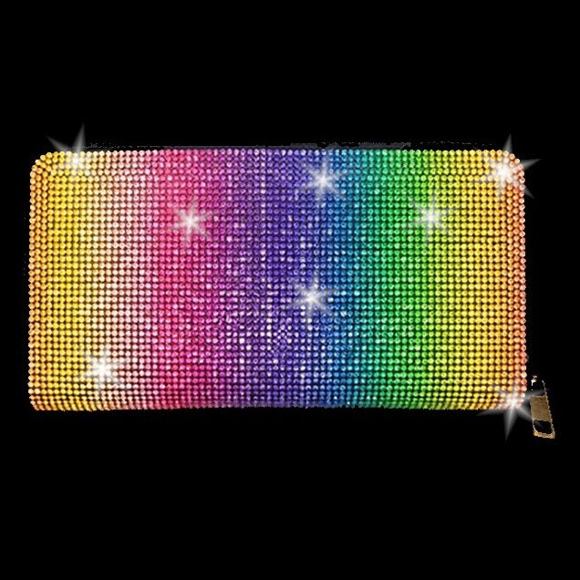 BLING Rainbow Multi Color Crystal Wallet Clutch