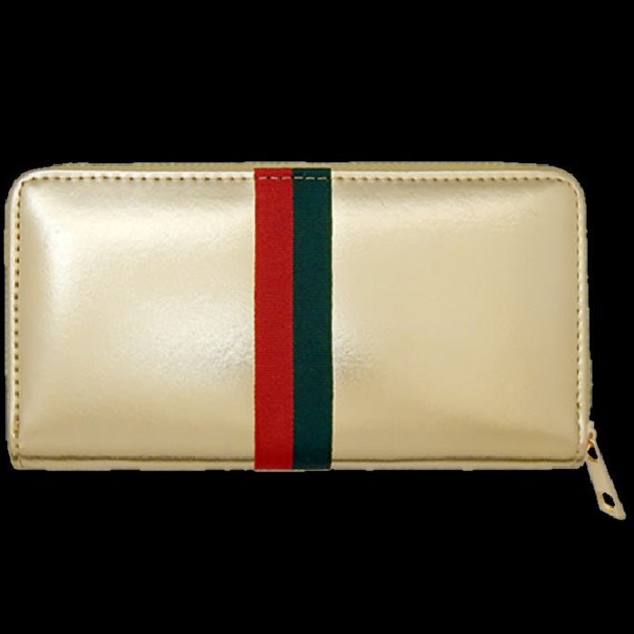 Gold Red Green Striped Wallet Clutch