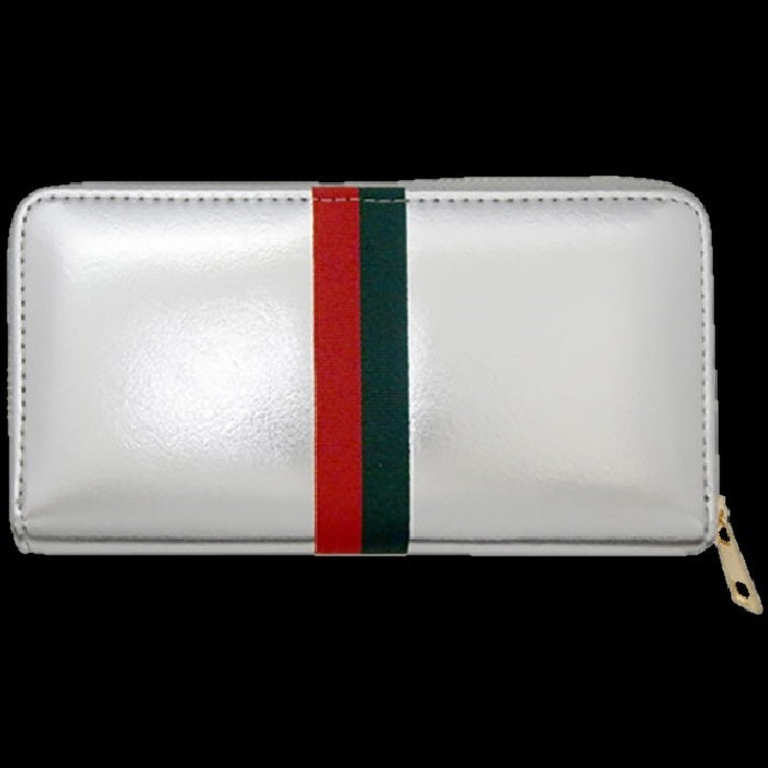 Silver Red Green Striped Wallet Clutch