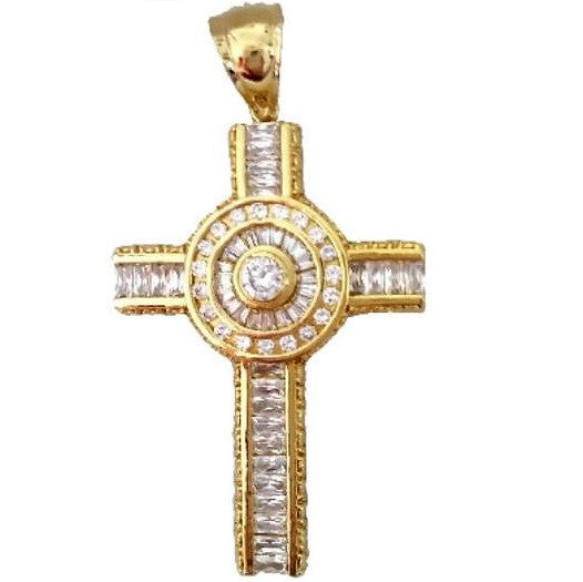 Mens Channel Set Baguette Round Cz Cross Pendant