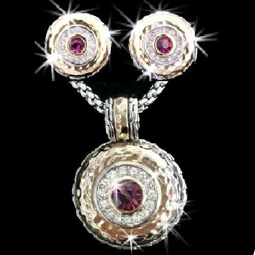 Pave Bezel Set Cz Purple Gold Silver Cable Pendant Necklace Earrings