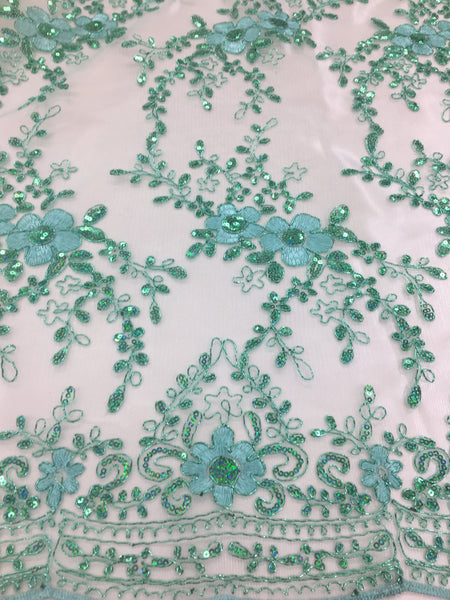 Hologram Sequins Floral Embroidery Lace