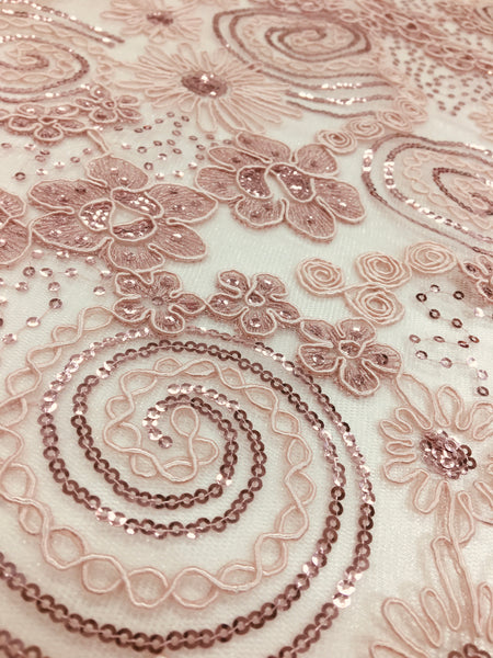 Exotic Swirl Sequins Lace